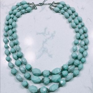Seafoam green 3-layered statement necklace